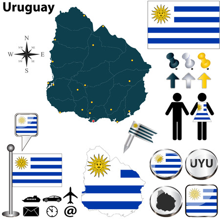 uruguay: Vector of Uruguay set with detailed country shape with region borders, flags and icons Illustration