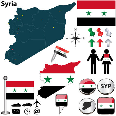 Vector of Syria set with detailed country shape with region borders, flags and icons Vector