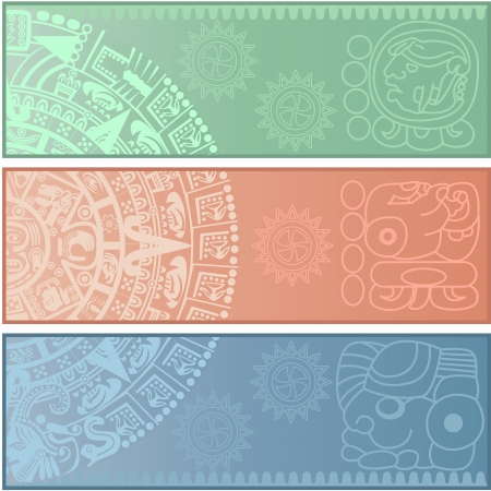 mesoamerican: Vector banners with ancient American ornaments