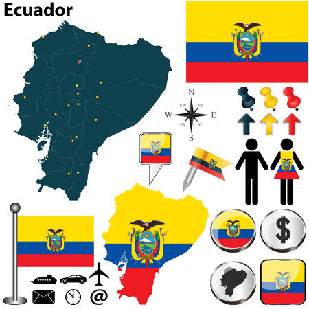 republic of ecuador: Vector of Ecuador set with detailed country shape with region borders, flags and icons