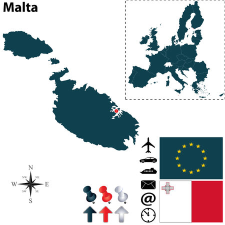 valletta: Vector set of Malta country shape with flags, icons isolated and European Union