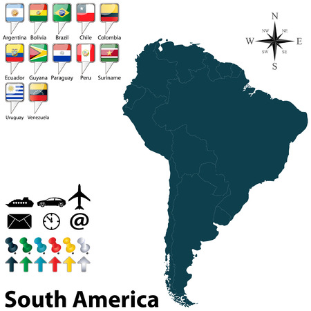 argentina flag: Vector of political map of South America set with buttons flags on white background
