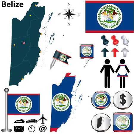 belize: Vector of Belize set with detailed country shape with region borders, flags and icons Illustration