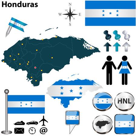 bandera honduras: Vector de Honduras establece en forma detallada los países con fronteras región, banderas e iconos