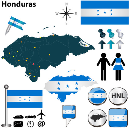 Vector of Honduras set with detailed country shape with region borders, flags and icons Vector