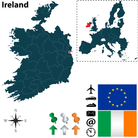 Vector set of Ireland country shape with flags, icons isolated and European Union Vector
