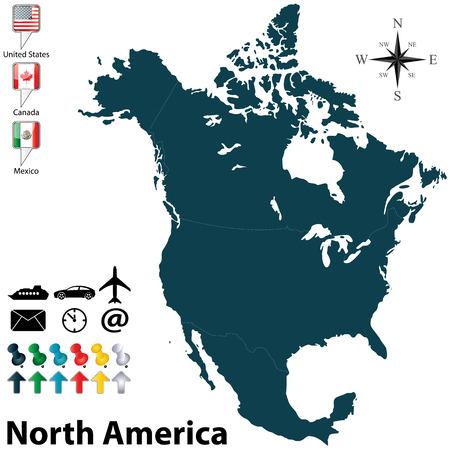 Vecteur de la carte politique de l'Amérique du Nord sertie de boutons drapeaux sur fond blanc
