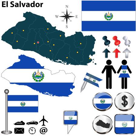mapa de el salvador: Vector de El Salvador establece con forma detallada los países con fronteras región, banderas e iconos
