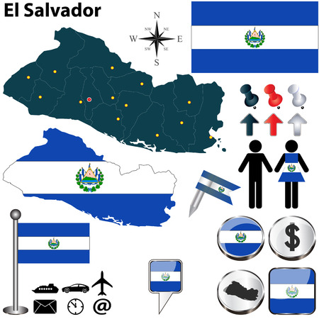 el salvador: Vector of El Salvador set with detailed country shape with region borders, flags and icons