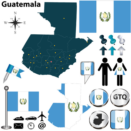 guatemala: Vector of Guatemala set with detailed country shape with region borders, flags and icons
