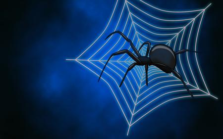 Spider web with big spider on dark blue background photo