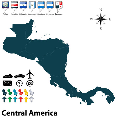 central america: Vector of political map of Central America set with buttons flags on white background