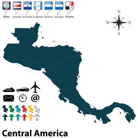 central: Vector van de politieke kaart van Midden-Amerika set met knoppen vlaggen op witte achtergrond