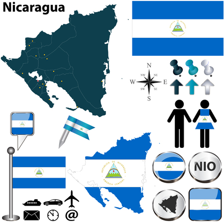 central america: Vector of Nicaragua set with detailed country shape with region borders, flags and icons Illustration