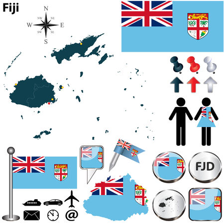 fijian: Vector of Fiji set with detailed country shape with region borders, flags and icons