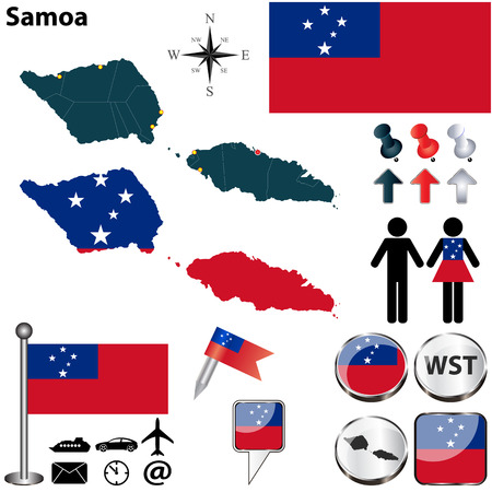 samoa: Vector of Samoa set with detailed country shape with region borders, flags and icons