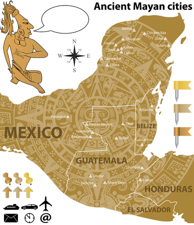 largest: Vector map of the largest Mayan cities with ancient calendar