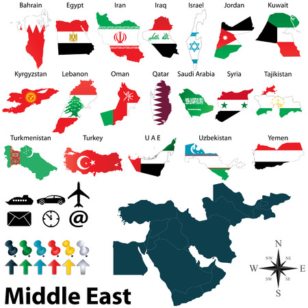 Vector of political map of Middle East set with maps and flags on white background Stock Illustratie
