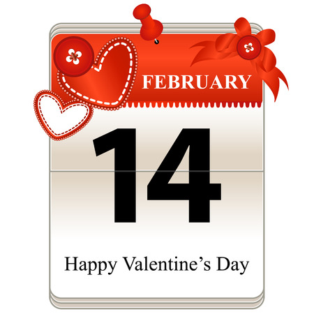 grid paper: Vector of the date Valentines Day Calendar, 14th of February