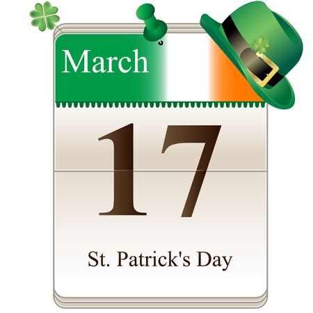 Vector of St Patricks Day Calendar for irish holiday, 17th of March Stock Vector - 24160368