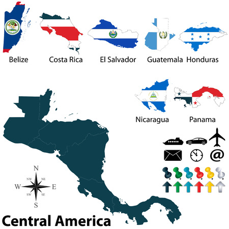 latin americans: Vector of political map of Central America set with buttons flags on white background