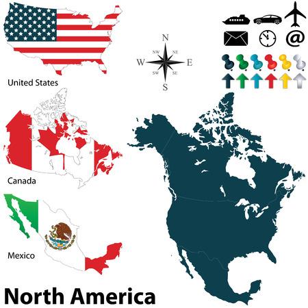 norte: Vector de mapa político de América del Norte establece con banderas botones en el fondo blanco