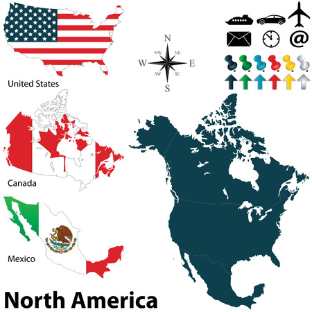 Vector of political map of North America set with buttons flags on white background Stock Illustratie