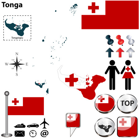 tonga: Vector of Tonga set with detailed country shape with region borders, flags and icons Illustration