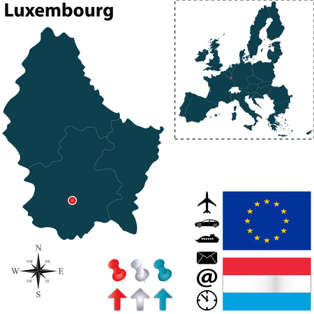 Vector set of Luxembourg country shape with flags, icons isolated and European Union Vector