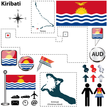 oceania: Vector of Kiribati set with detailed country shape with region borders, flags and icons Illustration