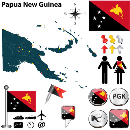 papua: Vector of Papua New Guinea set with detailed country shape with region borders, flags and icons Illustration