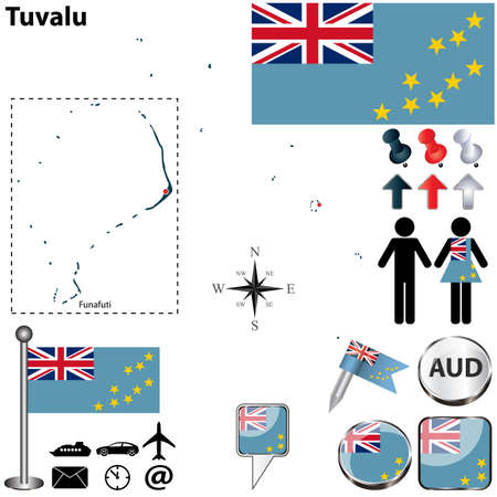 tuvalu: Vector of Tuvalu set with detailed country shape with region borders, flags and icons Illustration