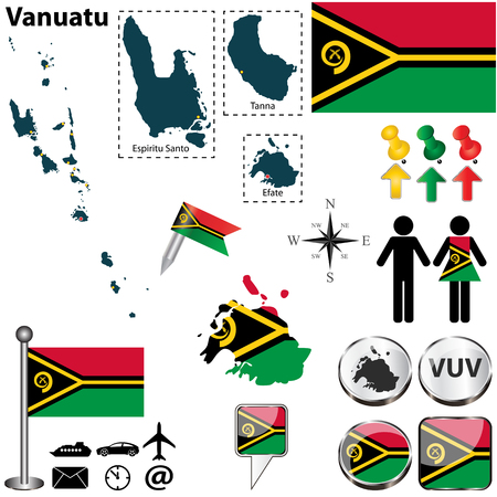 oceania: Vector of Vanuatu set with detailed country shape with region borders, flags and icons
