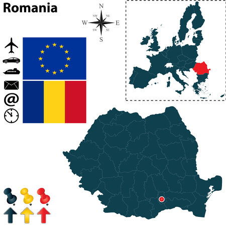 galati: Vector set of Romania country shape with flags, icons isolated and European Union