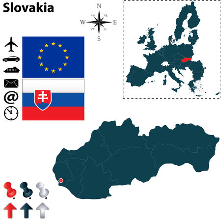 slovakia flag: Vector set of Slovakia country shape with flags, icons isolated and European Union