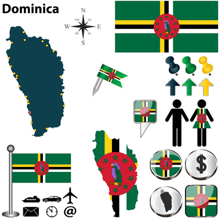 Vector of Dominica set with detailed country shape with region borders, flags and icons Vector