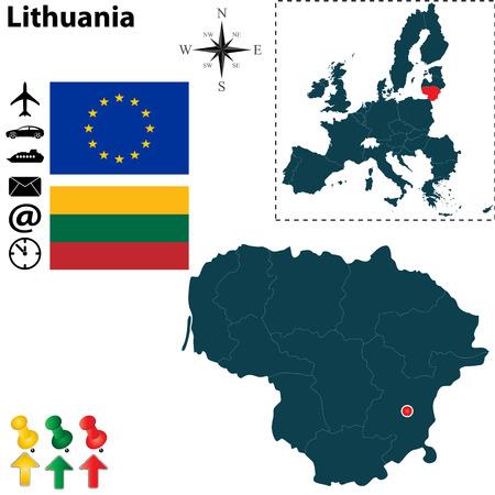 Vector conjunto de Lituania Forma del país con banderas, iconos aislados y Unión Europea Ilustración de vector