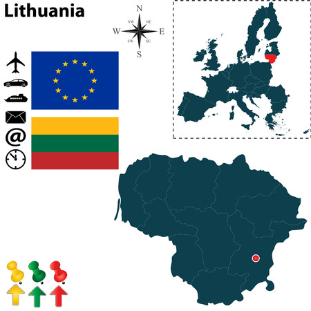 Vector set of Lithuania country shape with flags, icons isolated and European Union