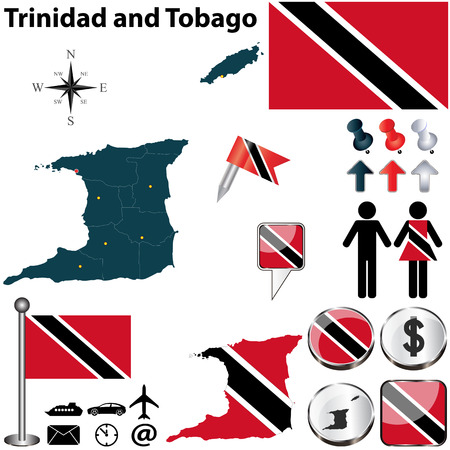 trinidad: Vector of Trinidad and Tobago set with detailed country shape with region borders, flags and icons Illustration