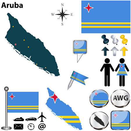 florin: Aruba set with detailed country shape with region borders, flags and icons