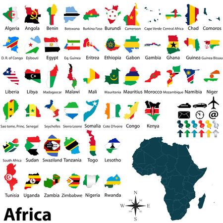 bandera de egipto: mapa político de África establece con mapas y banderas en el fondo blanco Vectores