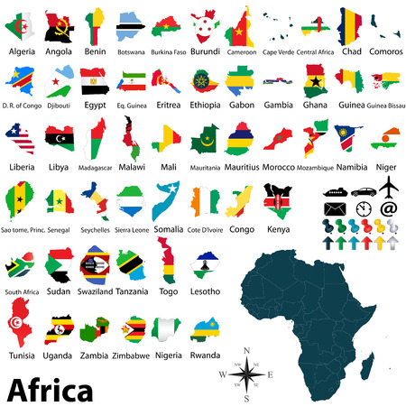 political map of Africa set with maps and flags on white background Vector