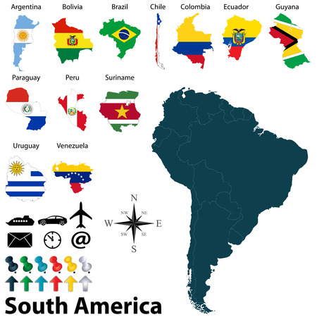 political map of South America set with maps and flags on white background
