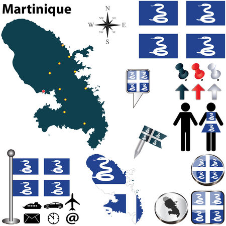 martinique: Martinique set with detailed country shape with region borders, flags and icons