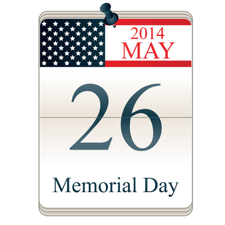 memorial day: Calendar for Memorial Day with American flag