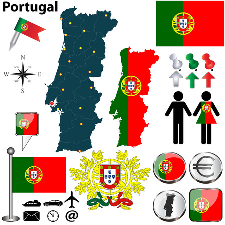 divisions: set of Portugal country shape with flags, buttons and icons isolated on white background