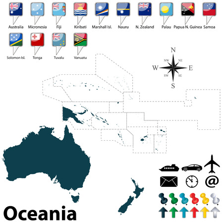 new zealand: Vector of political map of Oceania set with buttons flags on white background