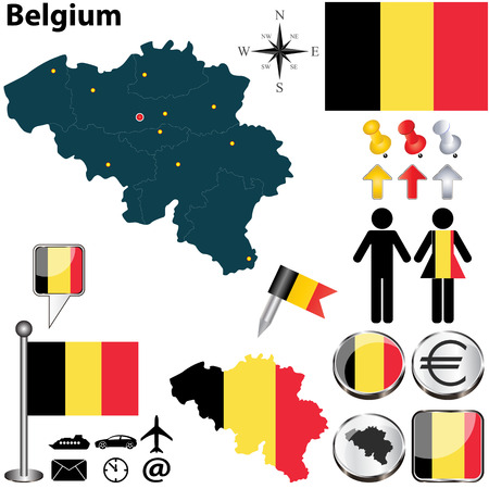 Vector set of Belgium country shape with flags, buttons and icons isolated on white background Vector