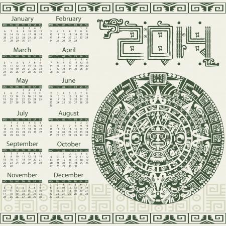 yucatan: Vector calendar 2014 in mayan style