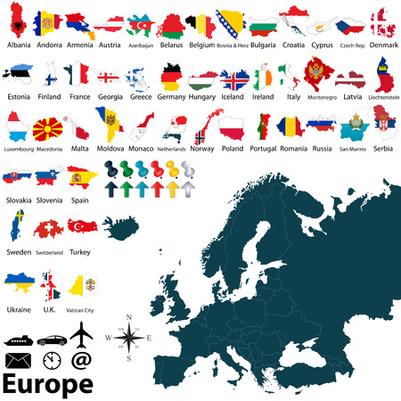 geography of europe: Vector of political map of Europe set with maps and flags on white background Illustration